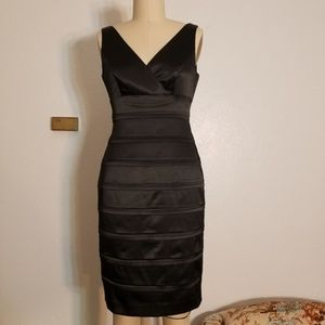 Black Cocktail Party Dress Crossover Bodice